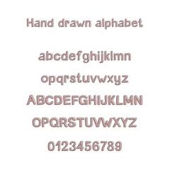 Decorative hand drawn alphabet. Handwritten vector brush font. Modern ABC. Uppercase, lowercase, numbers, punctuation. Greeting card, logo, phrases, invitation, slogan, windows decor