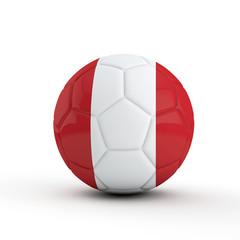 Peru flag soccer football against a plain white background. 3D Rendering