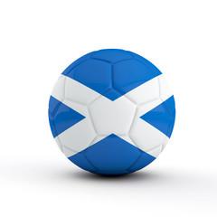 Scotland flag soccer football against a plain white background. 3D Rendering