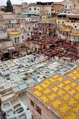 An ancient tannery in the historic town of Fes, Morocco.