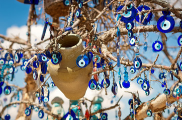Autocollant pour porte Turquie A nazar, charms to ward off the evil eye , in Cappadocia, Turkey