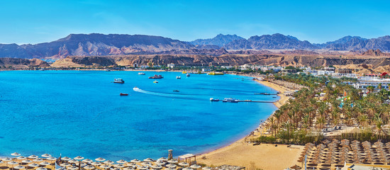 Photo sur cadre textile Egypte Panorama of El Maya bay beaches, Sharm El Sheikh, Egypt