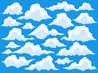 Set of cartoon clouds in blue sky. Fluffy cloud vector illustration