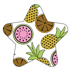orange pineapple and watermelon fruit seamless pattern vector illustration star shape white background