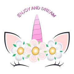 Cute fantasy cat princess unicorn. Greeting card.
