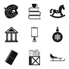 Drew icons set, simple style