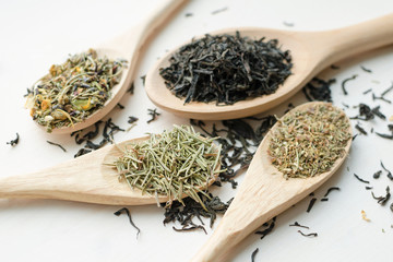 various tea, thyme and rosemary