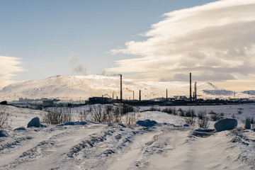 winter snowy landscape on a sunny day
