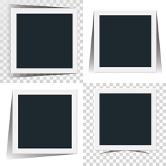Collection of the concept of rotation of the retro photo frame isolated on white and transparancy background.