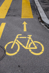 Bicycle marking on the road