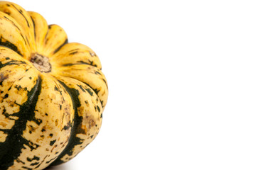 Green and Yellow Sweet Dumpling Squash on white background with copy space
