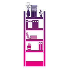 silhouette education bookcase with folders document object