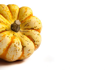 Orange and Yellow Sweet Dumpling Squash on white background with copy space