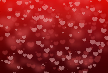 Red heart shape bokeh with valentines holiday on red abstract background, love texture and pattern.