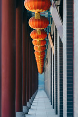 Chinese lanterns hanging at traditional Chinese architecture