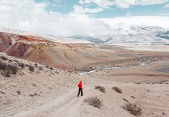 Person walking in desert