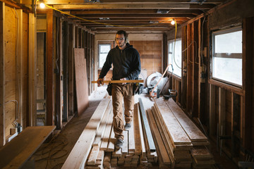 Carpenter man working on jobsite