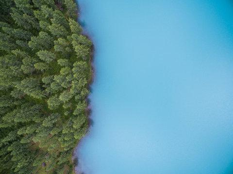Aerial view of Small Shavla lake, Altai