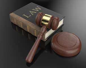 Justice. Worn Law book and hammer on black backgound surface. 3D render.
