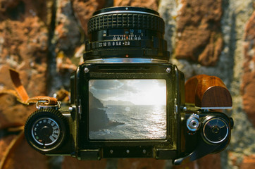 Camera showing seascape