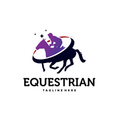 Equestrian Horse Logo Template Design Vector, Emblem, Design Concept, Creative Symbol, Icon