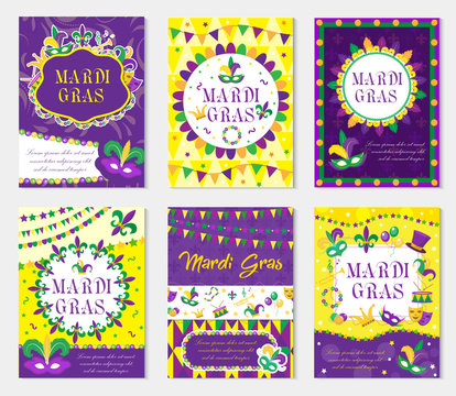 Mardi Gras carnival set poster, invitation, greeting card. ollection templates for your design with mask feathers. Festival, Holiday in New Orleans. Fat Tuesday background. Vector illustration