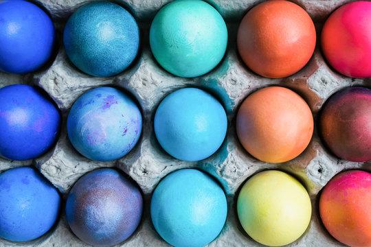 Bright modern dyed Easter eggs.