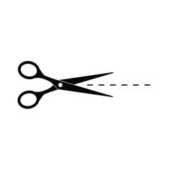 black scissors with cut line icon- vector illustration