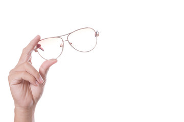 Hand holding vintage glasses