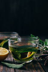 Sage hot tea with lemon
