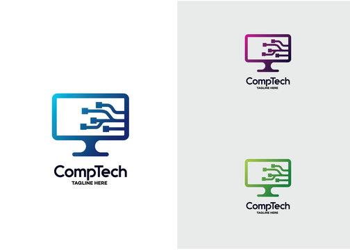 Computer Technology Logo Template Design Vector, Emblem, Design Concept, Creative Symbol, Icon