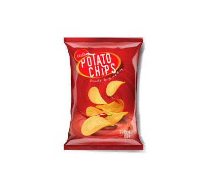 Potato chips advertisement bag, spicy chilli pepper flavor.