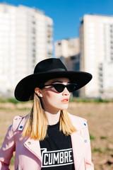 Stylish girl in hat