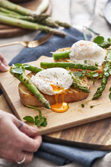 Spring lunch, toasted sourdough with grilled asparagus and soft poached hens eggs.