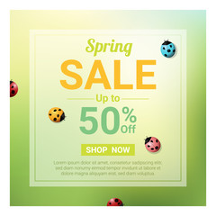 Spring sale banner with colorful ladybugs , vector , illustration