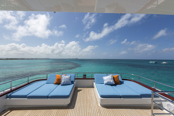 Vacation on Motor Yacht, details of Interior Luxury Yacht from Bahamas to Caribbean Wall mural