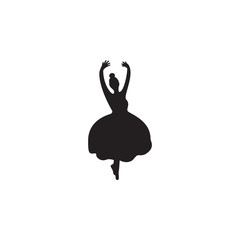silhouette of ballerina icon. Dance elements. Premium quality graphic design icon. Simple love icon for websites, web design, mobile app, info graphics
