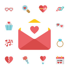 love letter icon with heart. Digital vector february happy valentine's day and wedding celebration color simple flat icon set