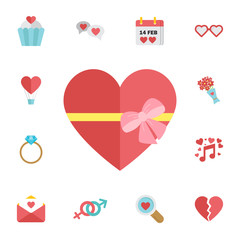Happy valentines day gift box with heart. Digital vector february happy valentine's day and wedding celebration color simple flat icon set