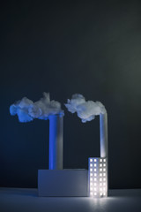 Paper Power Station, (vertical with blue light)