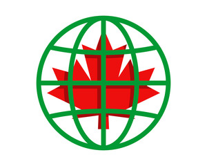 red maple leaves circle globe image vector icon logo