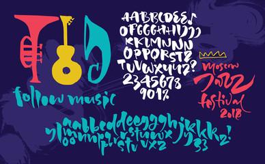 Jazz improvisation festival poster. Expressive calligraphic script