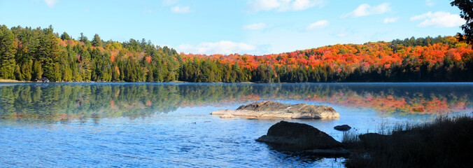 Keiser pond panoramic view in Vermont