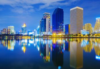 city night view at Benjakitti Park, Bangkok, Thailand