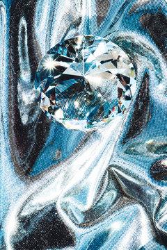 Diamond on silver background