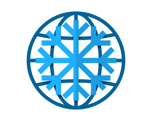 snowflake winter blue globe image vector