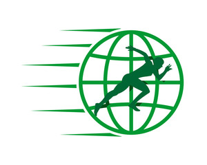 green sprinter runner athlete silhouette globe image vector icon