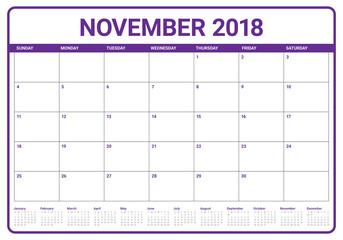 November 2018 planner calendar vector illustration