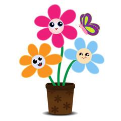 Cute cartoon flowers on a flower pot