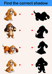Find correct shadow. Funny little dog collections